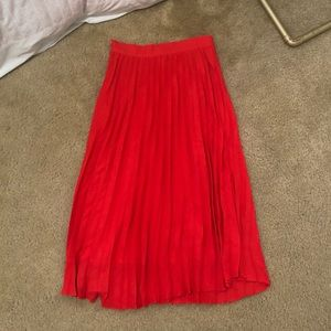 High Waisted Pleated Red Midi Skirt